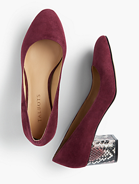 Isa Suede & Exotic-Print Block-Heel Pumps