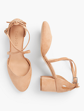 Isa Crisscross-Strap Block-Heel Pumps