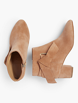 Maud Suede Side-Bow Booties