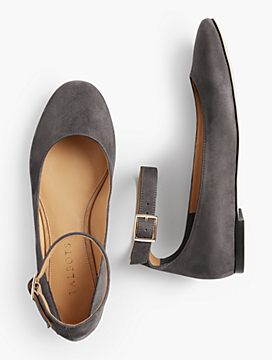 Olympia Ankle-Strap Flat-Suede