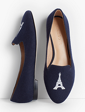 Ryan Eiffel Tower Embroidered Flats - Flannel
