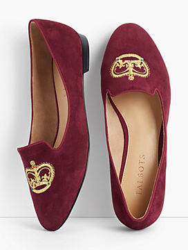 Ryan Crown Embroidered Flats - Suede