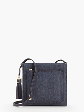 Denim Zip-Top Pocket Crossbody Bag
