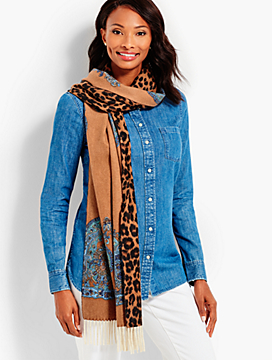 Tassel Reversible Paisley & Animal Cashmere Wrap