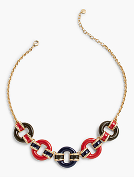Military-Inspired Stripes & Ring Necklace
