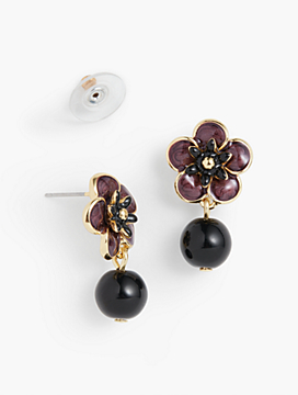 Flower Stud & Bead Drop Earrings