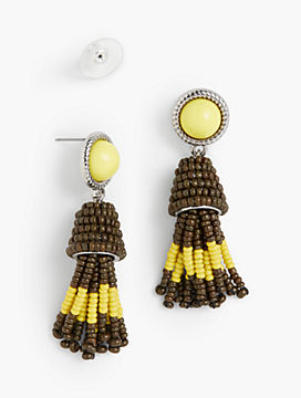 Cabochon & Seed-Bead Tassel Earrings