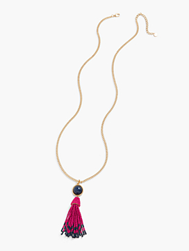 Cabochon & Seed-Bead Tassel Necklace