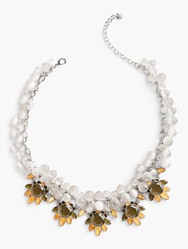 Mixed-Bead & Crystal Drop Necklace