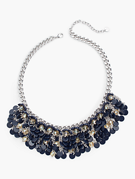 Flower & Discs Bib Necklace