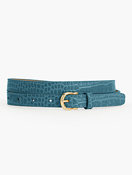 Croc-Embossed Equestrian-Buckle Belt