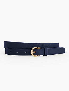 Pebbled Leather Equestrian-Buckle Belt