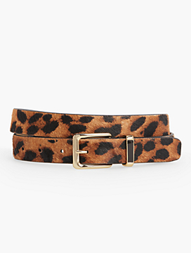 Leopard Haircalf Belt with Enamel Keeper