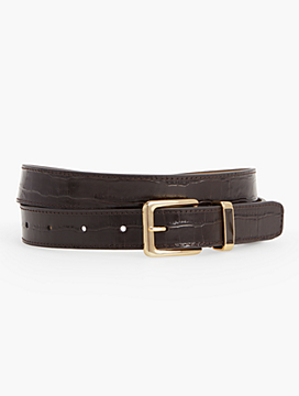Croc-Embossed Belt with Enamel Keeper