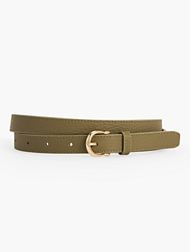 Womans Pebbled Leather Equestrian-Buckle Belt