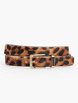 Womans Leopard Haircalf Belt with Enamel Keeper
