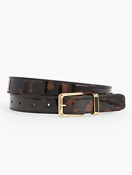 Womans Printed Tortoiseshell Belt with Enamel Keeper