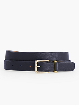 Womans Classic Leather Belt with Enamel Keeper