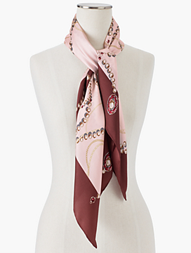 Pearls & Chain-Link Silk Scarf