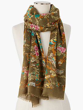 Fringed Woodland Birds Scarf