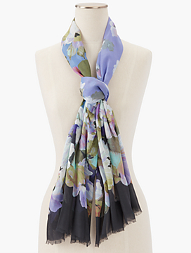 Fringed Painted Flower Scarf