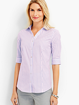 The Perfect Elbow Sleeve Shirt - Amber Stripes