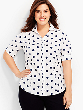 The Perfect Elbow-Sleeve Shirt - Polka Dots
