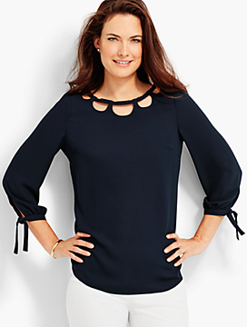 Tie-Sleeve & Cutout Top