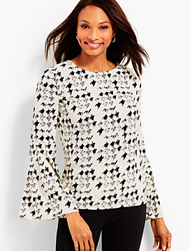 Flounce-Sleeve Painted-Houndstooth Blouse