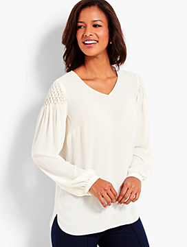 Smocked-Sleeve Blouse