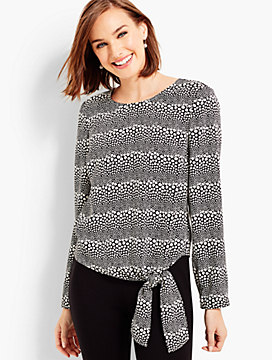 Side-Tie Blouse - Dotted Stripes