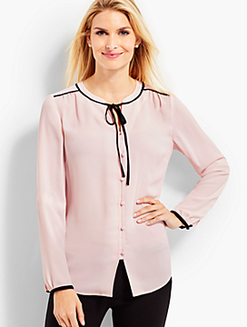 Contrast-Trimmed Tie-Front Blouse