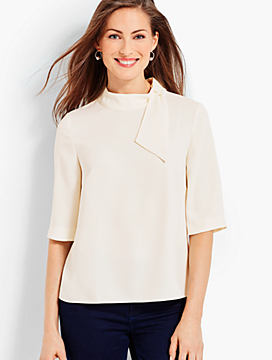 Side-Tie Mock-Neck Crepe Top
