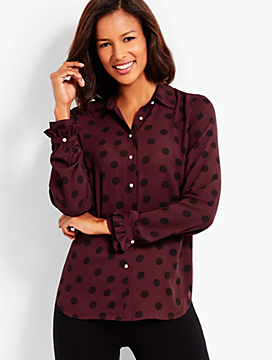 Patterned Dots Ruffle-Cuff Shirt