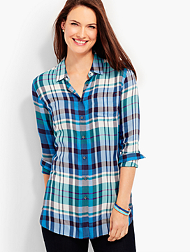 The Long Button-Back Shirt - Kasey Plaid