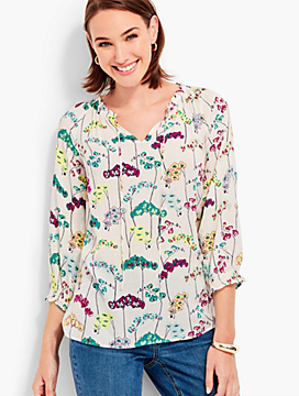 Ruffled Tie-Front Popover Shirt - Orchids