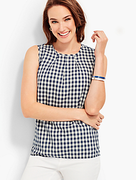 Gingham Pleat-Front Shell