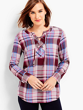 Lace-Up Roxbury Plaid Popover