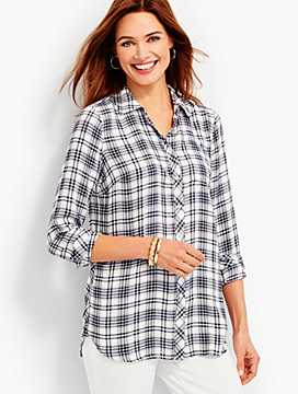 The Long Button-Back Shirt - Window Plaid