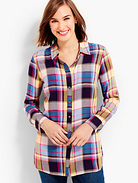 The Long Button-Back Shirt - Roxbury Plaid