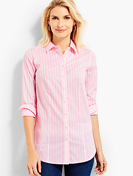 The Longer-Length Long-Sleeve Shirt - Ticking Stripes