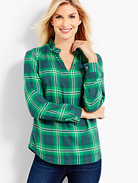 Ruffle-Collar V-Neck Shirt - Harvest Plaid