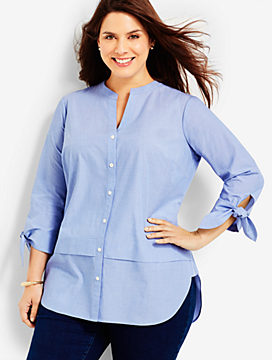Tie-Sleeve & Back-Buttons Shirt - End-On-End