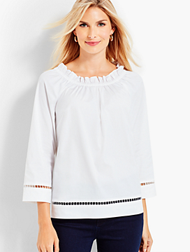 Eyelet-Trimmed Ruffle-Neck Blouse