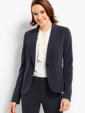 Textured Dot Single-Button Blazer