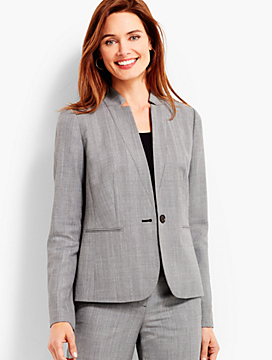 Shadow Herringbone Stand Collar Blazer