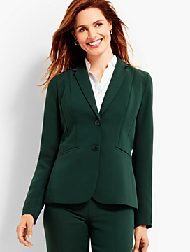 Seasonless Crepe Double-Button Blazer