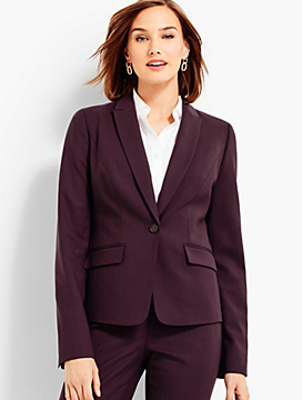 Luxe Twill Single-Button Blazer