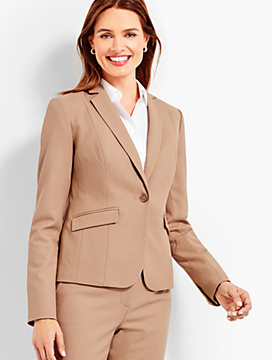 Luxe Piqué Single-Button Blazer
