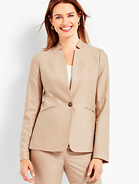 Luxe Wool Cashmere Flannel Single-Button Blazer